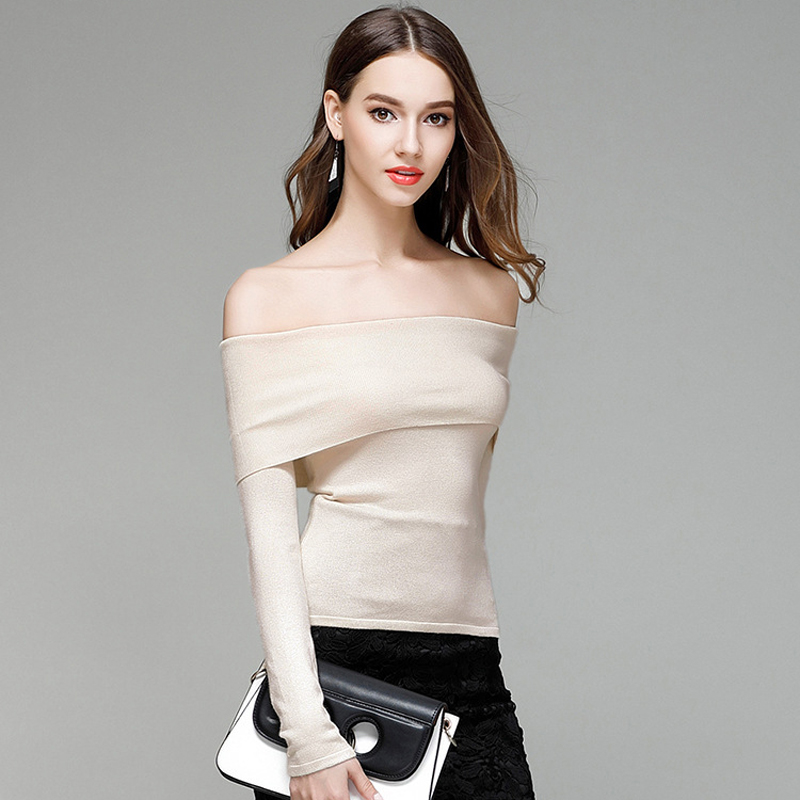 Spring and Summer New Women Sweater Slash Neck Shoulderless Thin Section Fashion  Sweater Sexy Pullover Sweaters Female Elegant-in Pullovers from Women s ... 035124b8f