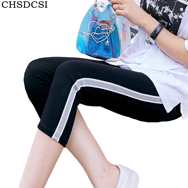 CHSDCSI Women   Leggings   High Quality Cotton   Leggings   Side Stripes Capris New Female High Waist Fitness   Leggings   Plus Size   Legging