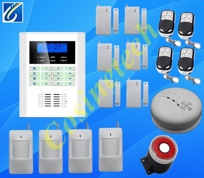 Hot sales GSM+PSTN dual network Home security gsm alarm system in English,French,Russian,Italian for option,Home alarm system free shipping guard english french app wireless gsm pstn phone alarm security system built in speaker for intercom security