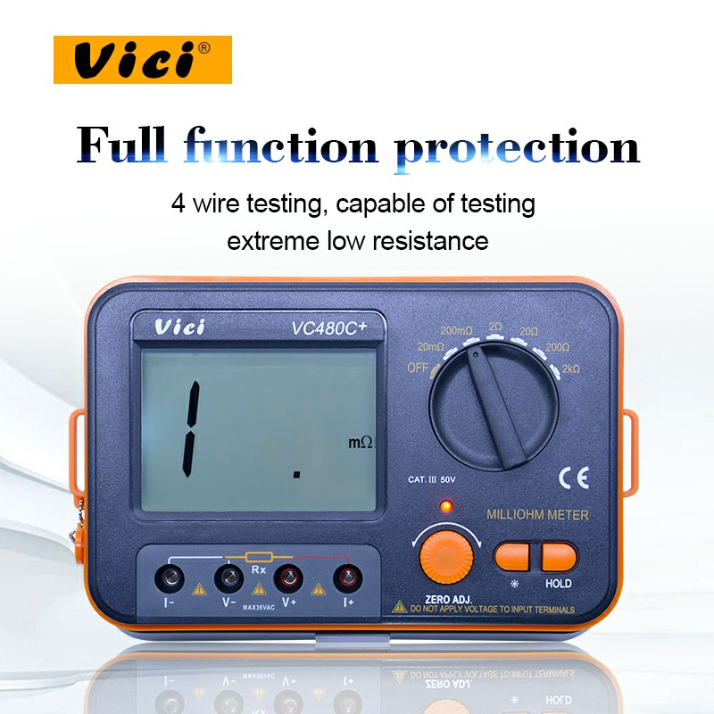 VICI VC480C+ Digital Milliohm Meter 2k ohm resistance tester multimetro with 4 wire test LCD Backlight 500pcs 1210 1 2k 1k2 1 2k ohm 5