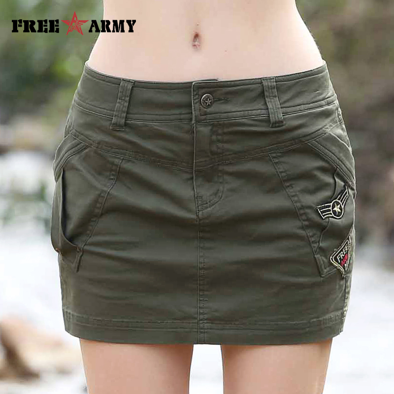2017 Smmer Womens Skirts Military Army Green Short Skirt -2624