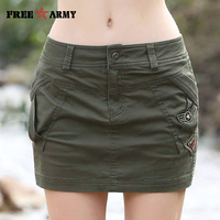 2017 Smmer Womens Skirts Military Army Green Short Skirt Cotton Sexy Mini Pencil Skirts Femme Casual