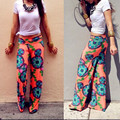 Hot Sale Summer Women Pants Casual High Waist Flare Wide Leg Long Pants Palazzo Trousers Floral Plus Size Classic Pant Preppy