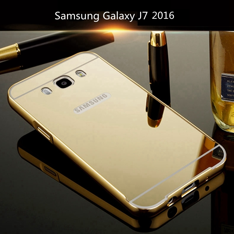 For Samsung Galaxy J7 2016 Case Gold Aluminum Metal Frame Acrylic PC Back Cover Mirror Case For Samsung Galaxy J7 2016 J710 Case