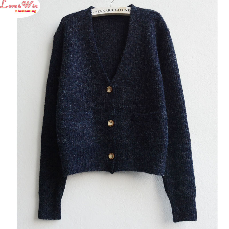 deep v neck two pockets women thick sweater long sleeve casual autumn outweart tops