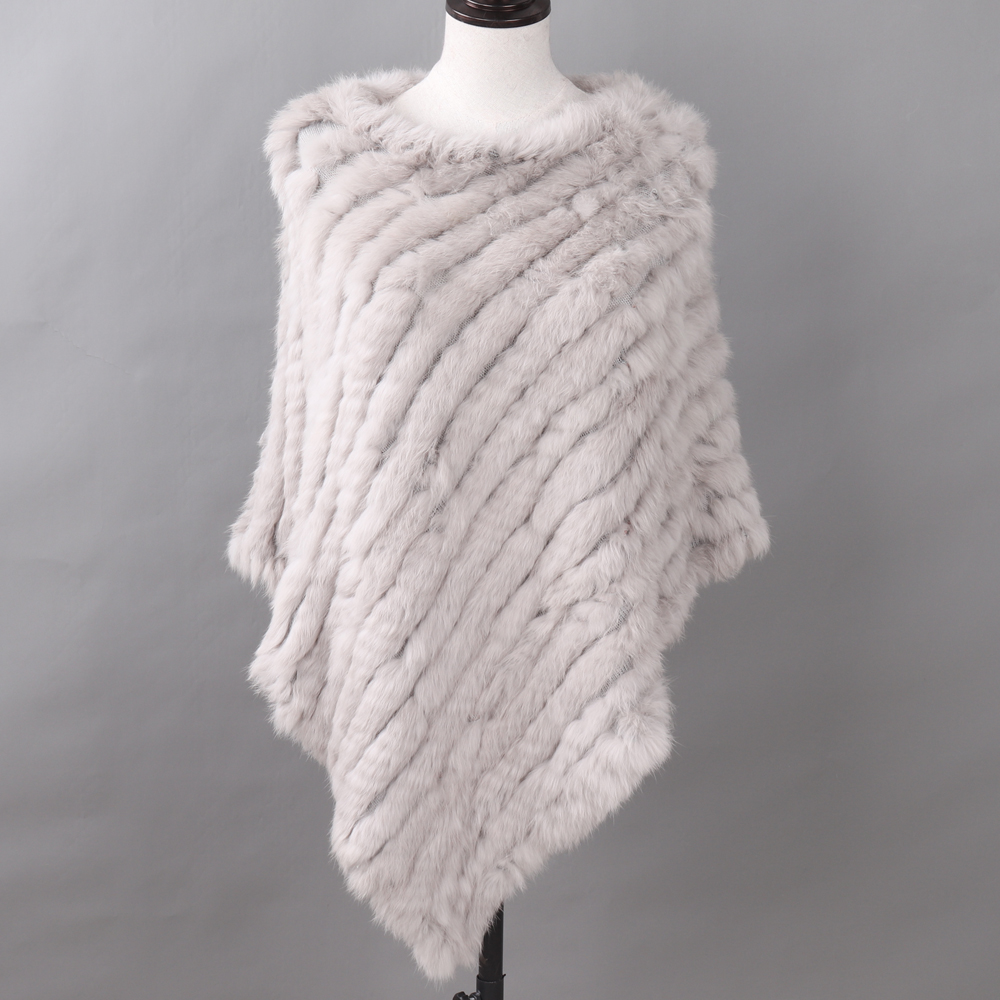 Image 5 - Autumn Winter Lady Genuine Knitted Rabbit Fur Poncho Wrap Scarves Women Natural Rabbit Fur Shawl Triangle Cape Wholesale Retail-in Women's Scarves from Apparel Accessories