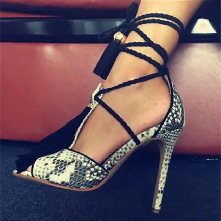 New Fashion Python Leather Women Lace Up Sandals T Strap Fringe Sexy Peep Toe High Heels