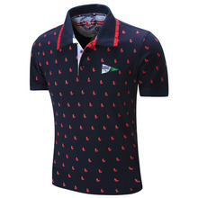 2016 New Brand Men Polo Shirt Mens Solid Polo homme Casual Short sleeve Full Print 100% Cotton Plus Size