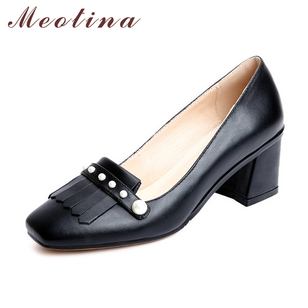 Meotina Genuine Leather Women Shoes Pumps Beading Party High Heels Square Toe Real Leather Shoes Black Pink Big Size 9 41 42  ladies comfortable women office shoes sandals square heels spring 2017 real leather round toe solid high heels big size 40 41 42