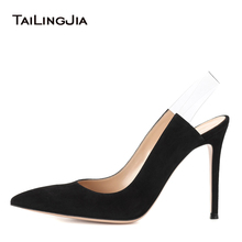 цена 2018 Big Size Sexy Red Elegant White Wedding Chunky High Heel Closed Pointed Toe Ladies Pumps Heels Black Slingbacks Shoes Woman онлайн в 2017 году