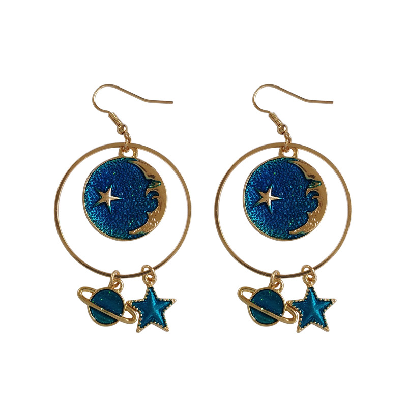 Korean Childhood Moon Star Clip Earrings No Pierced Hole Cartoon Colorized Earth Universe Earrings Without Piercing For Girls Jewelry & Accessories