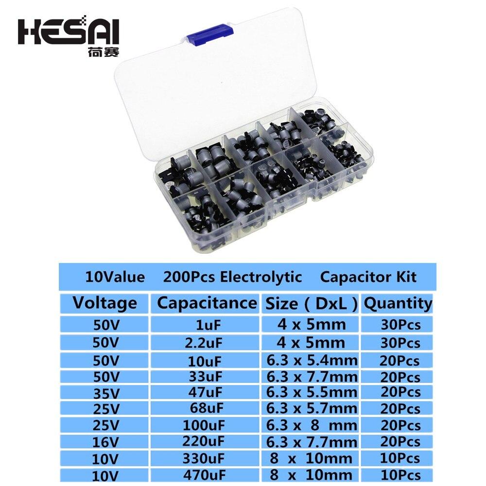 10 값 200pcs SMD 전해 커패시터 키트 10 V ~ 50V 1 미크로포맷 ~ 470 미크로포맷 저장 상자