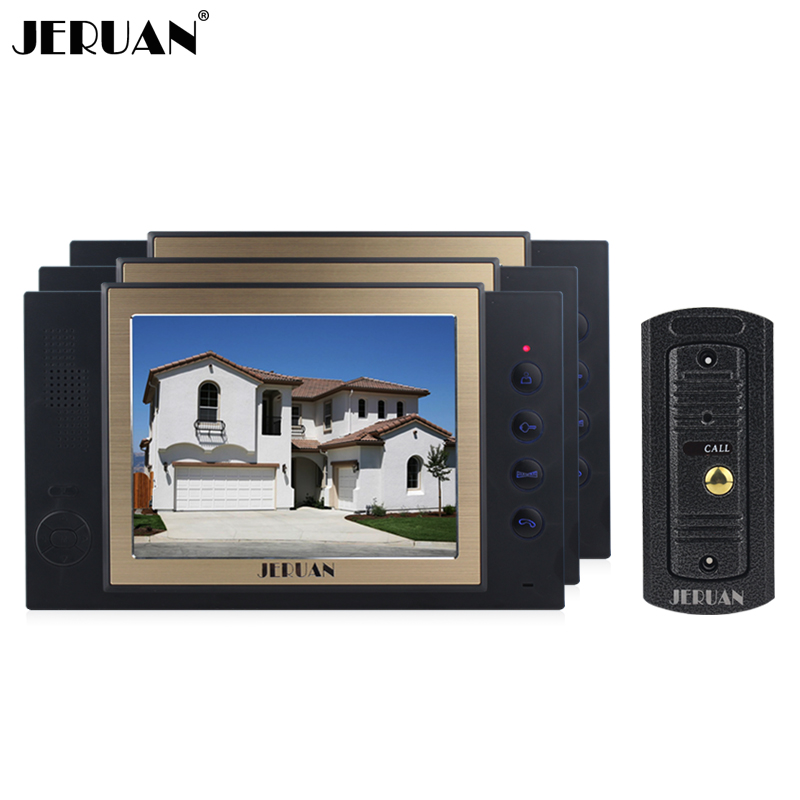 JERUAN 8`` LCD video door phone intercom system speaker intercom with recording photo taking outdoor waterproof pinhole Camera jeruan 8 inch video door phone high definition mini camera metal panel with video recording and photo storage function
