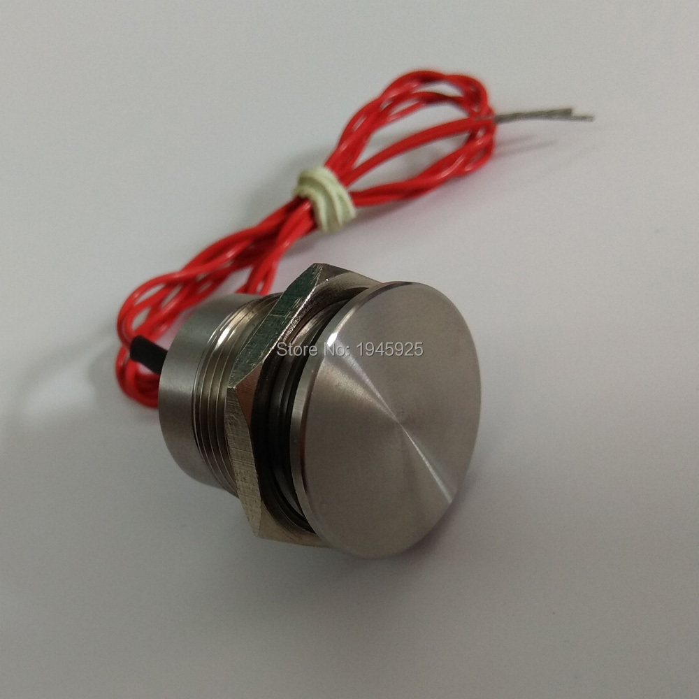 лучшая цена 19mm STAINLESS STEEL Momentary normal open NO prolongated pulse touch sensor piezo switch