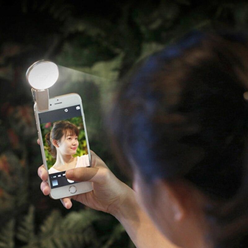 Smartphone LED Spot Selfie Lumière Nuit L'obscurité Selfie Améliorer Photographie pour iPhone 5 6 s Plus Samsung
