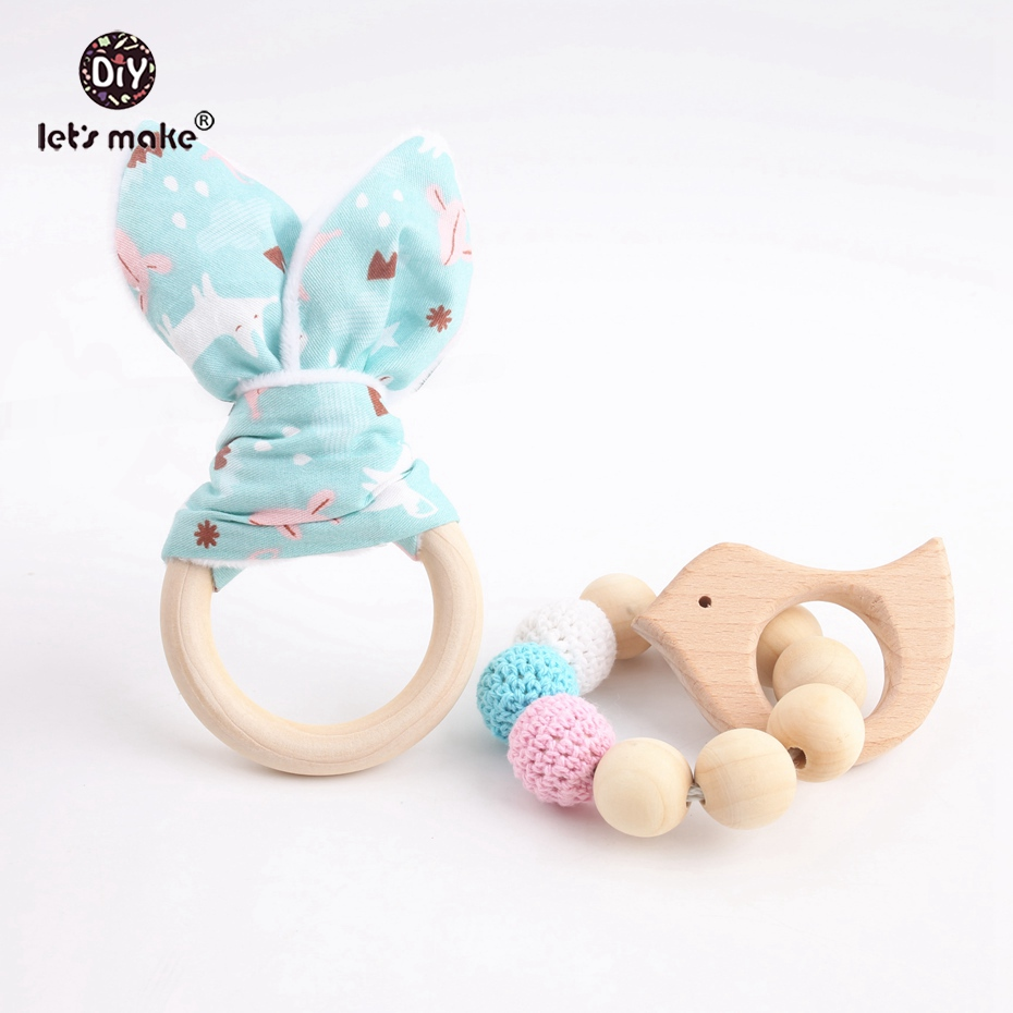 Let's Make 2pcs/set Wooden Baby Accessories Organic Cotton Bunny Ear Sensory Chewing Toy Nursing Bracelet Baby Teethers