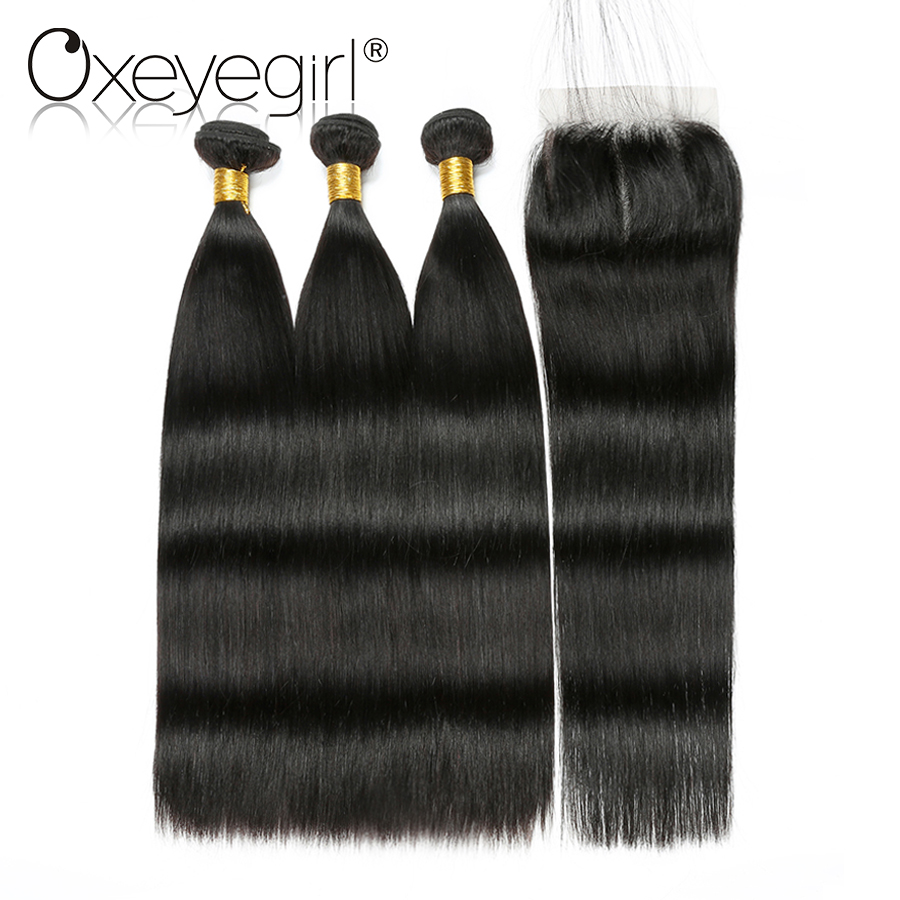 Oxeye girl Human Hair 3 Bundles With Closure 4x4 Lace Closure With Bundles Malaysian Straight Hair Extensions 4pcs/lot Nonremy