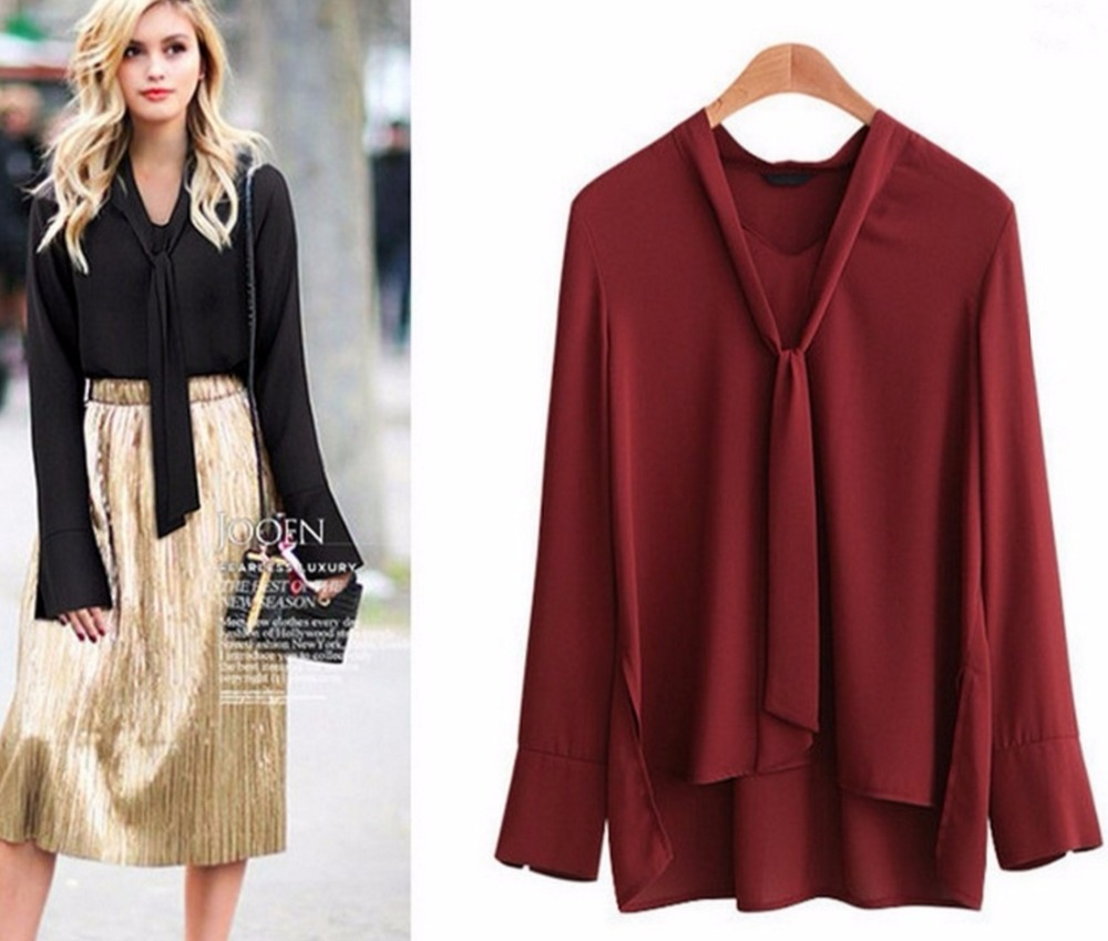 starlist mulheres moda moderna trabalho ol bowtie chiffon camisas longas da luva tops blusas slidos vinho