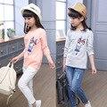 Primavera roupas meninas das crianças de manga comprida t camisas gola redonda longo t camisa dos desenhos animados das crianças edição korea casuais T-shirt