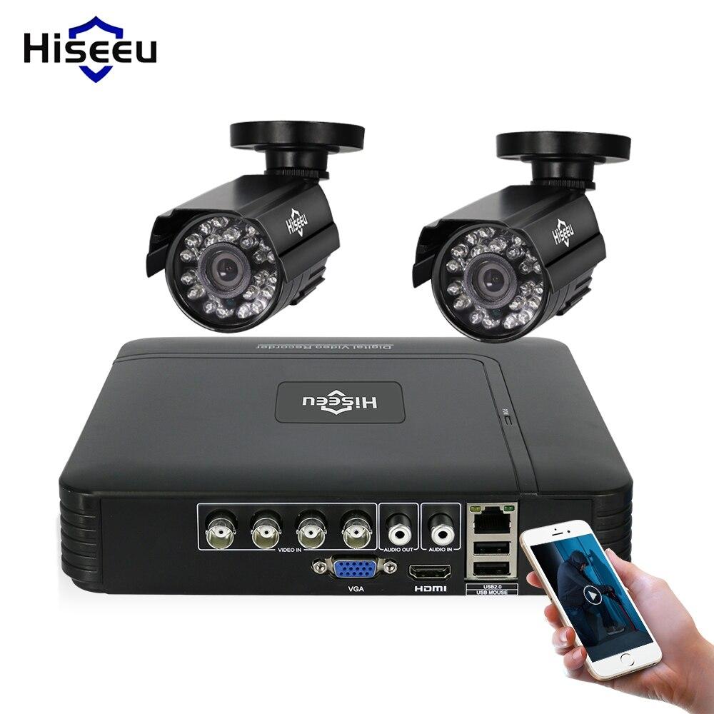 Hiseeu 4CH DVR CCTV Системы 2 шт. Камера s 2CH 1,0 Мп ИК Открытый безопасности Камера 720 P HDMI AHD CCTV DVR 1200 ТВЛ комплект видеонаблюдения
