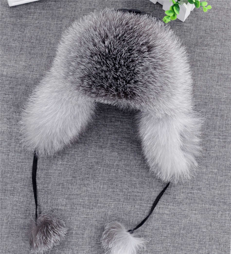 On Sale 100% Real Fox fur Women's Russian Ushanka Aviator trapper snow skiing Hat caps earflap winter raccoon fur Bomber hat 25