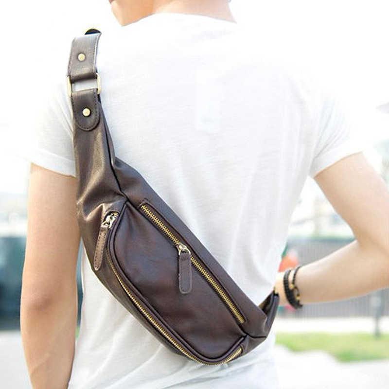 83de0e3ded83 Высокое качество искусственная кожа поясная сумка Для мужчин кожаный ремень  сумка платок bananka груди сумка-