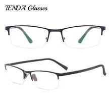 Металлические полуобода очки для мужчин Классическая оправа для очков для близорукости и чтения по рецепту линзы