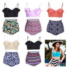 Women High Waist Swimsuit Vintage Push up Bikini Sets Brazilian Plus size Bodysuit Tankini costume bain