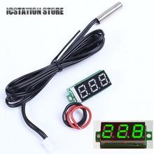 "0.28"" Green Mini LED Digital Display Thermometer with NTC Waterproof Metal Probe 0.1 Celsius Precision Sensor Module"