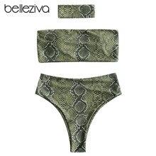 Belleziva Women Bikini Set Sexy Snakeskin Print Bandeau Bikini With Choker Female Summer Swimsuit Swimwear Bathing Suit Biquinis