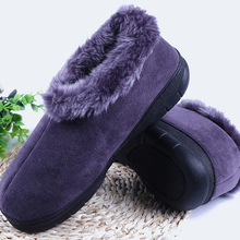 Mens Boots Winter Wedges Large Size 45-46 TPR sole Flock Comfortable Ankle boots for male Short Plush Shallow Warm shoes Men
