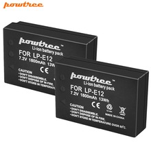 цена Powtree For Canon 7.2V 1800mAh 2PCS LP E12 LP-E12 LPE12 Digital Camera Battery Replacement EOS M50 EOS M100,100D Kiss X7 Rebel онлайн в 2017 году