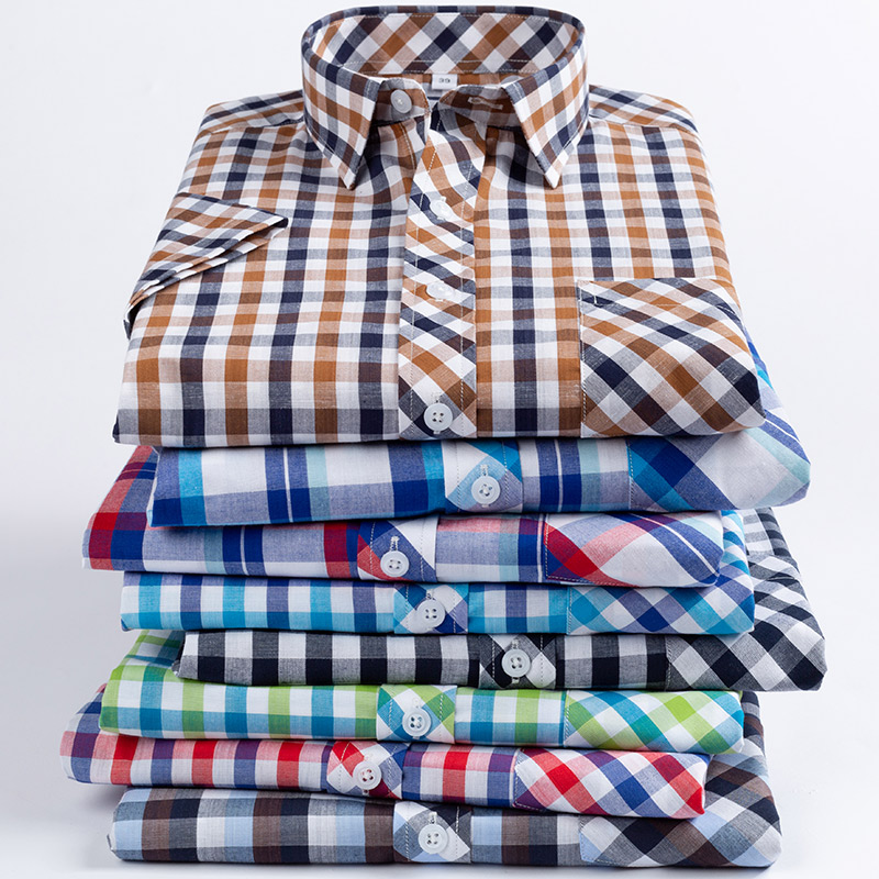 2019 New Arrival Fashion Summer Thin Short Sleeve Pure Cotton Plaid Loose Large Male Dress Shirts Smart Casual Plus Size M-8XL(China)
