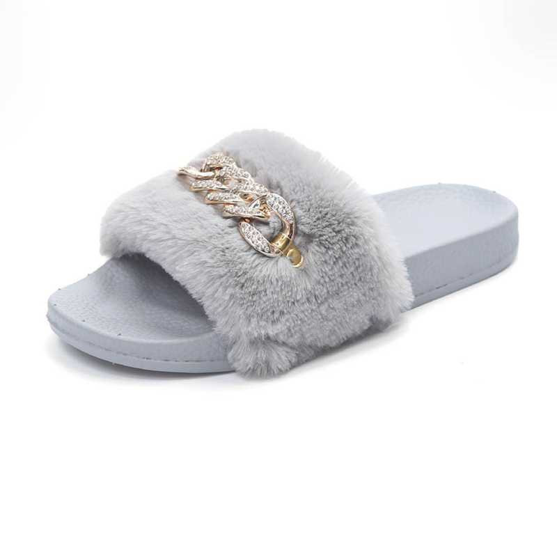 817e07d452c267 2018 New Womens Sandals Slippers Womens Ladies Slip On Sliders Fluffy Faux  Fur Flat Slipper Flip