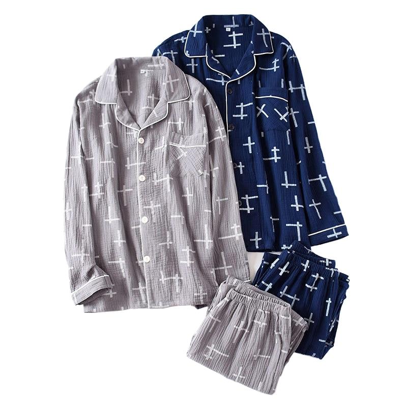 Simple 100% Crepe Cotton Sleepwear Men Pijama Hombre Gauze Two Piece Pyjamas Male Long-sleeve Pajamas Sets Soft Summer 2019