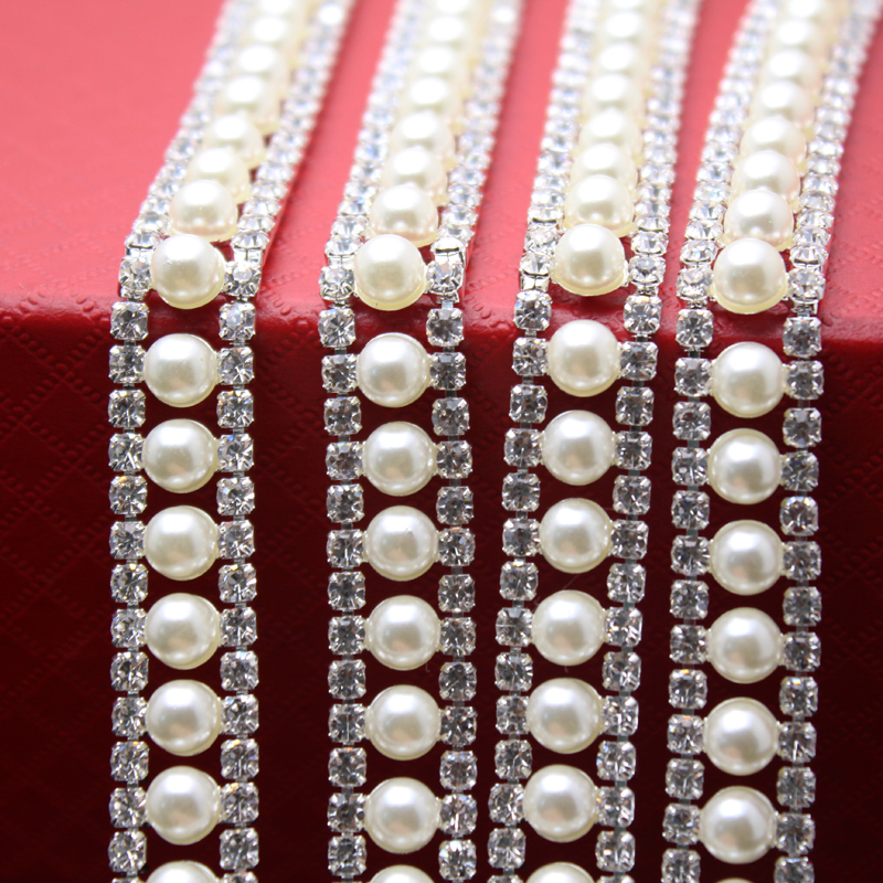 1 Yard Crystal Pearl Rhinestone Cup Chain Silver Base For Wedding Dress Decoration Rhinestone
