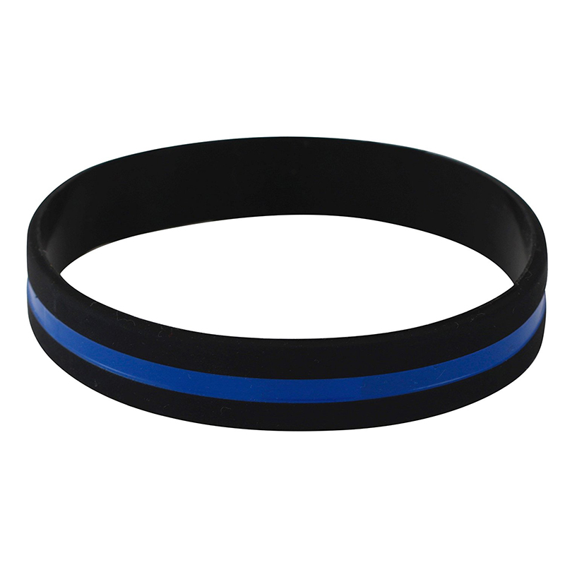 Thin Blue Line Silicone Rubber Police Bracelet Law Enforcement Support Family
