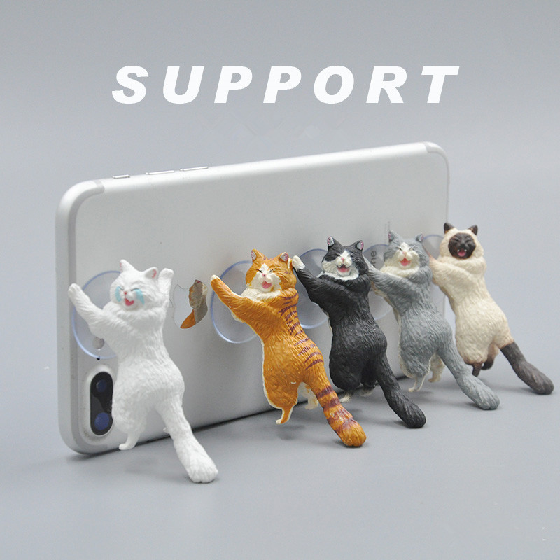 Universal Cute Cartoon Cat Phone Holder For iPhone XS MAX XR X 8 7 6 6S Plus Lazy Phone Mount Stand For Samsung Huawei Xiaomi LG in Phone Holders Stands from Cellphones Telecommunications