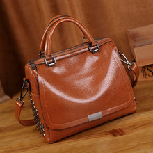 Cowhide Women Leather Handbags Genuine Leather Bags Handbags Women Famous Brands Designer High Quality Top Handler Bags New T12(China)