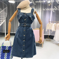 Summer Sundress for Woman 2018 New Korean Style High Waist Strapped Single Jeans Dress Woman Denim Dress Mini Sexy Party
