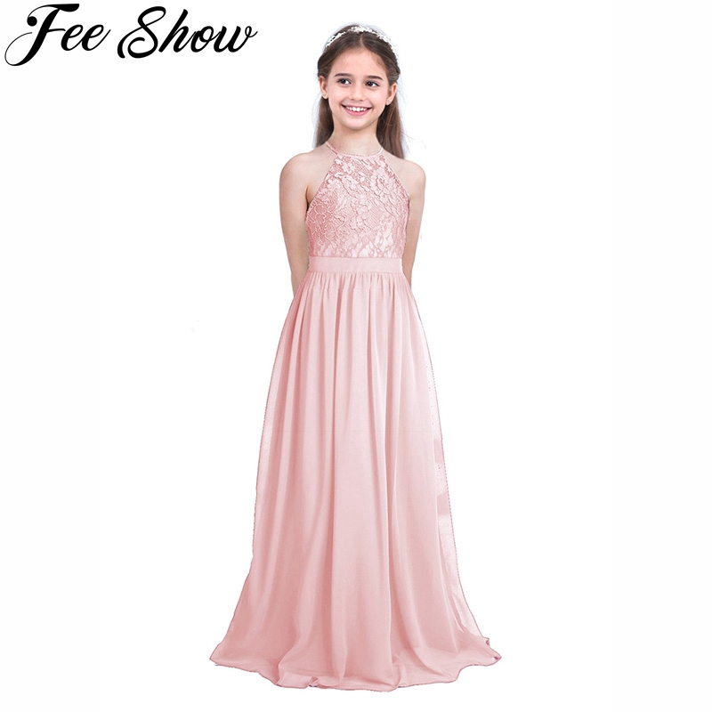 Pink Cute Children Lace Flower Princess Girl Dress for Wedding Birthday Party High-end Girl Kids Evening Prom Dresses for Girls girls ball gown lace flowers girl white dress for prom princess dresses for wedding birthday party kids clothes floral evening