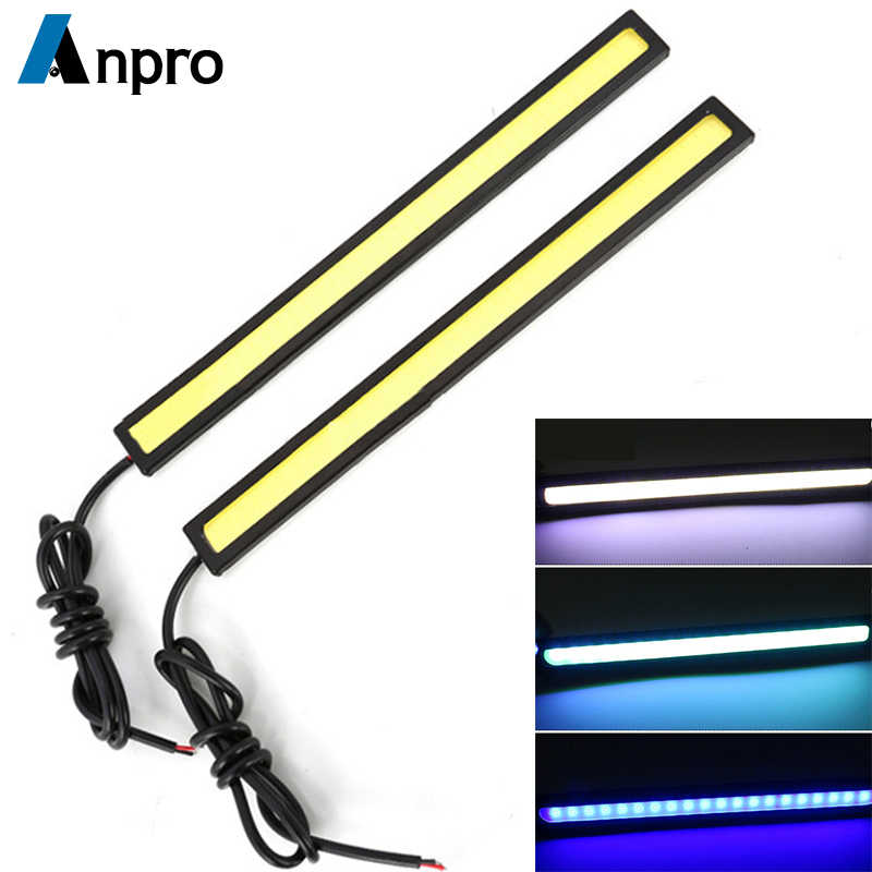 Anpro 17cm COB LED DRL Driving Daytime Running Lights Strip 12V Auto Waterproof Car Styling Led Lamp Car Working Light Z2