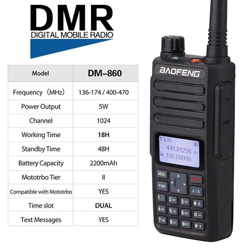 2019 BAOFENG DM 860 7.4V 2200mAh Digital walkie talkie Dual Time Slot DMR Digital/Analog upgraded of DM 1801 + USB Cable-in Walkie Talkie from Cellphones & Telecommunications    2
