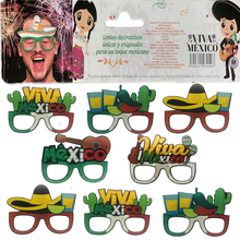 Omilut 8pcs Mexico Party Glasses Decor Viva Birthday Paper Adult Summer Violin Cactus Supplies