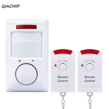 QIACHIP Smart home IR Infrared Motion Sensor switch Alarm Security Detector 105dB Wireless Alarm system with 2 remote control Z3 doberman security motion detector alarm with emergency keychain self protection safety home security movement sensors infrared
