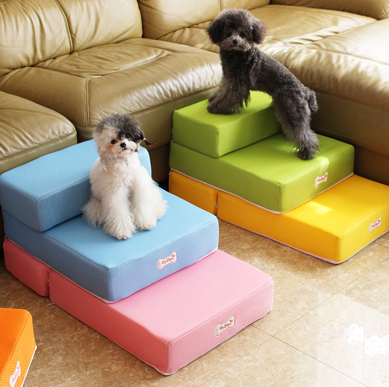 Easy 4 Steps Dog Stairs For Bed, Foam Pet Ramp With Washable Cover For  Small Cats ...