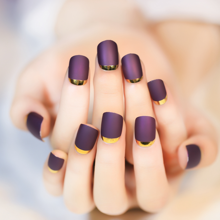 Turn Over French Purple Fake Nails with Golden Side Normal Length ...
