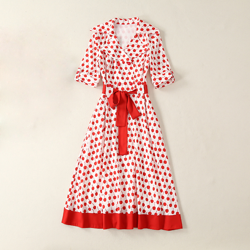HIGH QUALITY Newest 2019 Summer Runway Dress Women s Short Sleeve Cherry Print Red Belt Mid