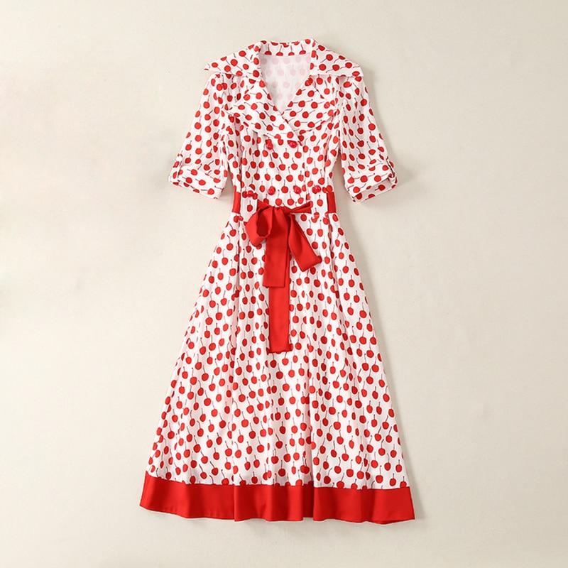 높은 품질 최신 2019 여름 활주로 드레스 여성 짧은 소매 체리 인쇄 빨간 벨트 중반 송아지 드레스-에서드레스부터 여성 의류 의  그룹 1