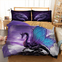 Dragon / dinosaur printed Duvet cover set single Queen Double sizes Cool Bed Linens Set Christmas gift Science fiction bed set(China)